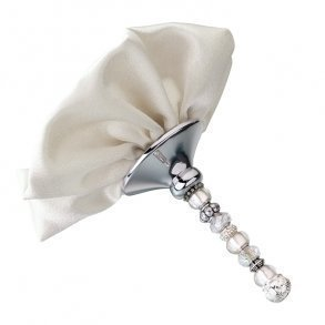 Silver Beaded Bouquet Holder With Ivory Satin