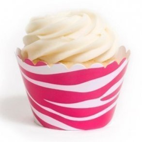 Wild Hot Pink Zebra Cupcake Wrappers - Pack of 12