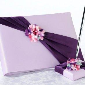 Radiant Purple Floral Wedding Guest Book & Pen