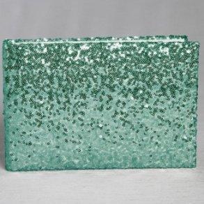 Mint Green Shiny Sequin Wedding Guest Book