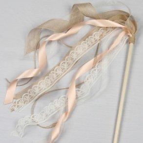 Ivory Rustic Ribbon Flower Girl Wand