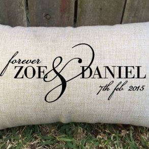 'Forever' personalised couple wedding cushion