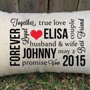 Personalised Husband & Wife Lumbar Cushion - Wedding Gift