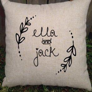 Personalised Rustic Wedding Couple Cushion