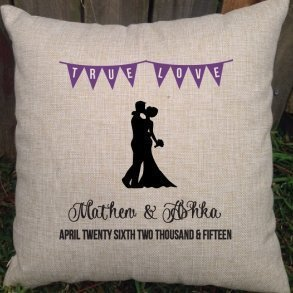 True Love Personalised Wedding Cushion - Gift