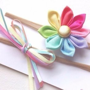 Pastel Rainbow Princess Fabric Baby Headband Set