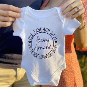 And So Our Adventure Begin Personalised Pregnancy Announcement Baby Onesie