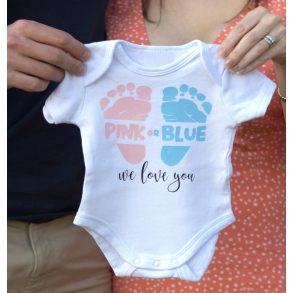 Pink Or Blue We Love You Baby Announcement Onesie