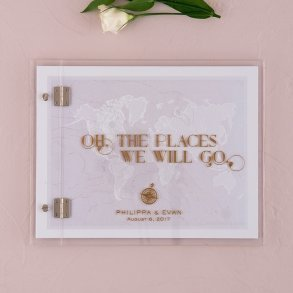 Vintage Travel Personalised Wedding Guest Book with Clear Acrylic Cover