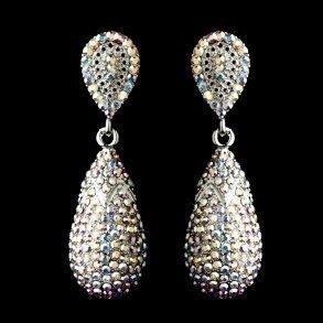 Silver Swarovski AB Crystal Dangle Earrings