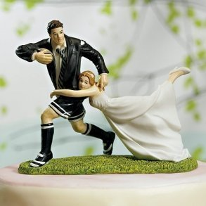 A Love Match Rugby Wedding Cake Topper