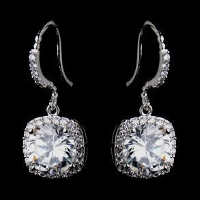 Antique CZ Crystal Bridal Earrings