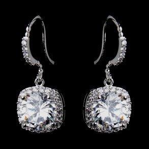 Antique CZ Crystal Bridal Earrings