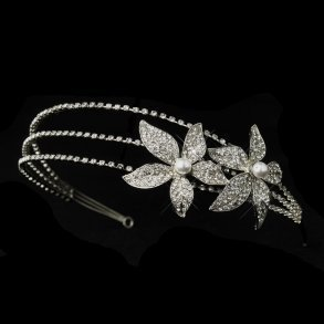 Antique Silver Floral Side Headband