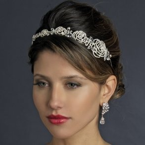 Antique Rhinestone Rose Bridal Headband