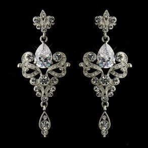 Antique Silver Clear Dangle Tear Drop Crystal Bridal Earrings