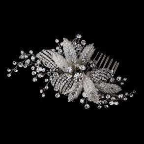 Antique Silver Crystal Flower Hair Comb