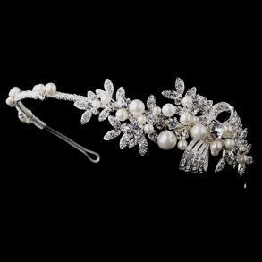 Antique Silver Crystal & Pearl Bridal Headband