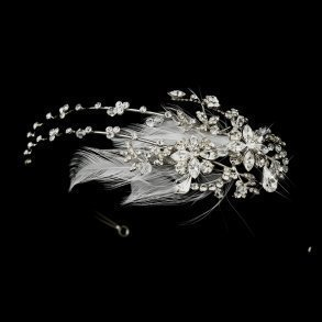 Antique Crystal Feather Headpiece