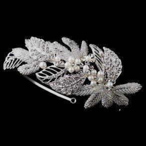 Antique Silver Crystal & Pearl Leaf Headband