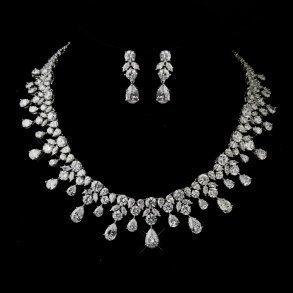 Antique Silver Teardrop Bridal Jewellery Set