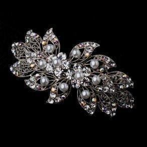 Antique Silver & White Pearl Wedding Hair Clip