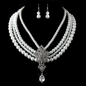 Antique White Pearl & Rhinestone Necklace