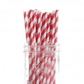Apple Red Stripe Paper Straws - Pack of 25