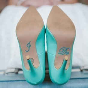 Aqua Blue Rhinestone 'I Do' Shoe Stickers
