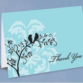 Aqua Perched Birds Thank You Cards - Pack of 50