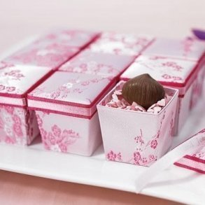 Asian Pink Brocade Bomboniere Boxes