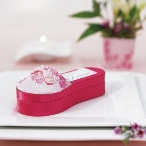 Asian Pink Brocade Slipper Bomboniere Box