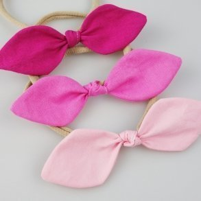 Pink Trio Baby Bow Fabric Headbands
