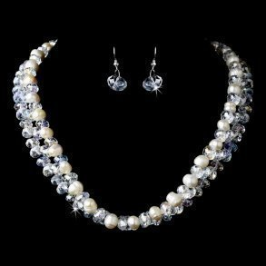 Silver Aurora Borealis & Ivory Pearl Necklace Set
