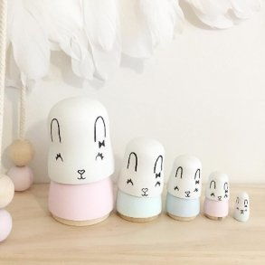 Sweet Hand Painted Pastel Bunny Rabbit Nesting Dolls