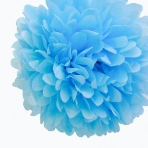 Baby Blue Tissue Pom Poms - Pack of 4