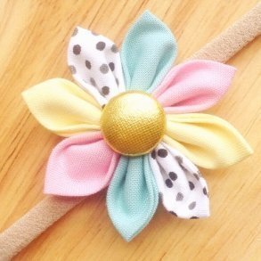 Baby Cake Pastel Fabric Flower Blossom Girls Headband