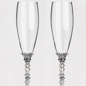 Beaded Glass Toasting Flutes