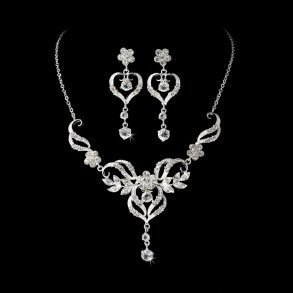 Beautiful Silver Crystal Swirl Bridal Jewellery Set