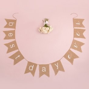 'Best Day Ever' Natural Burlap Banner
