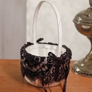 Gala Collection Black & Ivory Flower Girl Basket