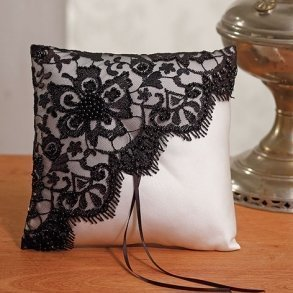 Gala Collection Black & Ivory Ring Pillow