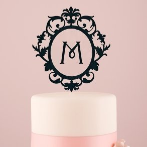 Black Classic Floating Monogram Acrylic Cake Topper