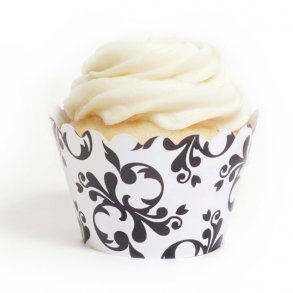 Black Filigree Cupcake Wrappers - Pack of 12