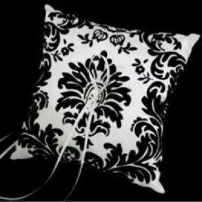 Black Flocked Ring Pillow