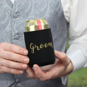 Black & Gold Groom Stubby Cooler