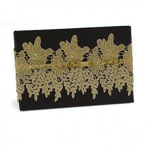 Black & Gold Vintage Lace Wedding Guest Book