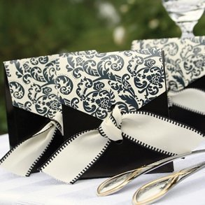 Ivory & Black Flourish Favour Boxes