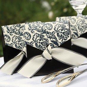 Ivory & Black Flourish Favour Boxes