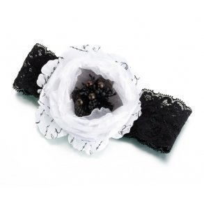 Black & White Floral Bridal Garter